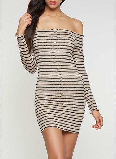 Striped Off the Shoulder Dress,TAN,large