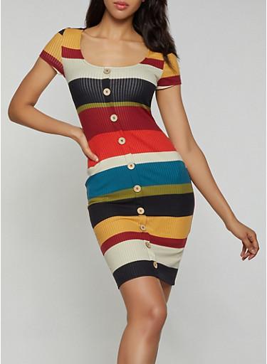Striped Button Front Dress,TAN,large