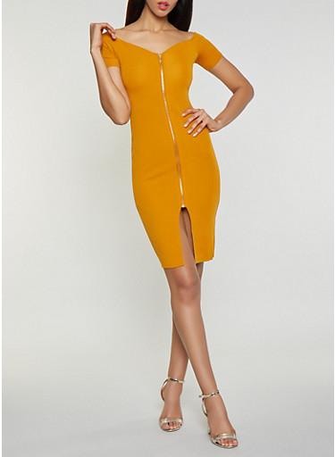 Zip Front Off the Shoulder Dress,GOLD,large