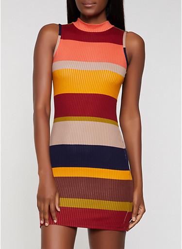 Rib Knit Striped Bodycon Dress   3094015050356,BROWN,large
