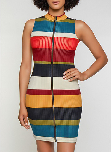 Striped Zip Front Bodycon Dress,MULTI COLOR,large