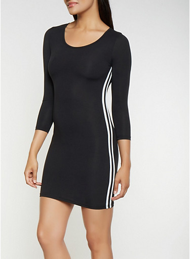 Varsity Stripe Bodycon Dress,BLACK/WHITE,large