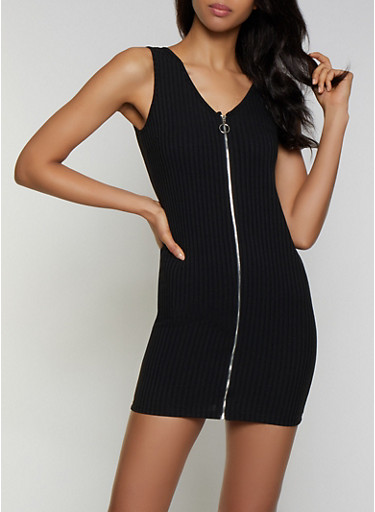 Ribbed Knit Zip Bodycon Dress,BLACK,large