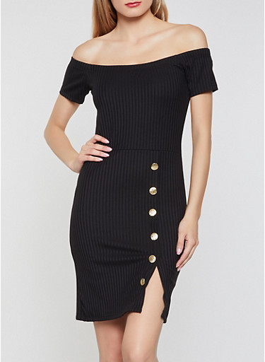 Ribbed Button Detail Off the Shoulder Dress,BLACK,large