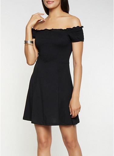 Smocked Off the Shoulder Skater Dress,BLACK,large