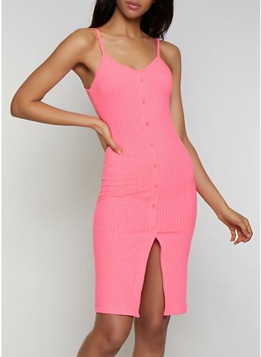Button Detail Rib Knit Cami Dress,NEON PINK,large
