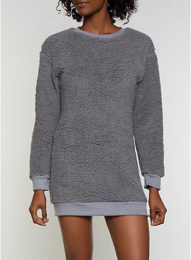 Sherpa Sweatshirt Dress,CHARCOAL,large