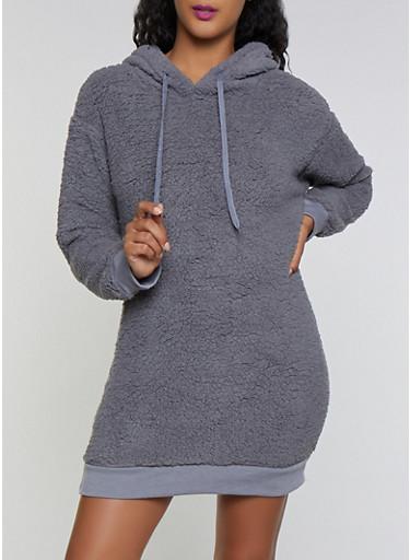 Hooded Sherpa Sweatshirt Dress,CHARCOAL,large