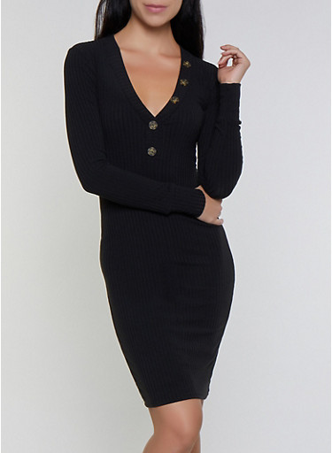Long Sleeve Rib Knit Bodycon Dress,BLACK,large