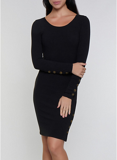 Button Detail Ribbed Dress,BLACK,large