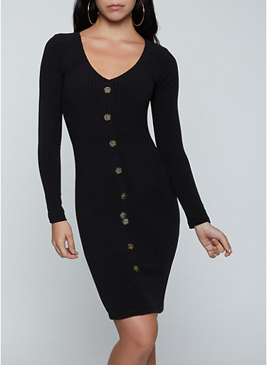 Button Ribbed Bodycon Dress,BLACK,large