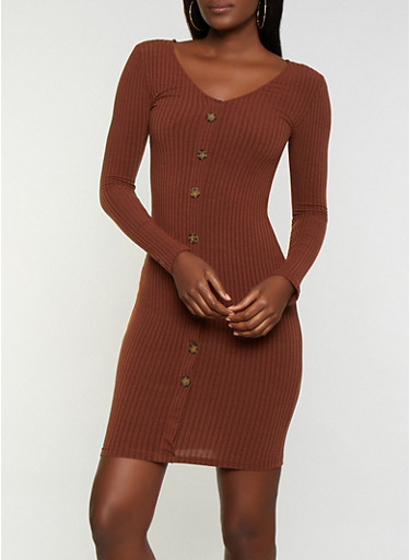 Button Ribbed Bodycon Dress,BROWN,large