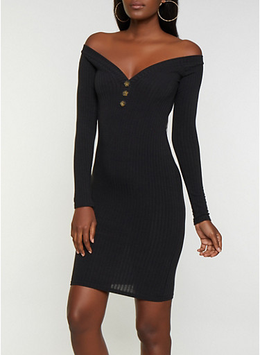 Ribbed Button Detail Off the Shoulder Bodycon Dress,BLACK,large