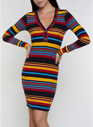 Striped Rib Knit Dress,RYL BLUE,large