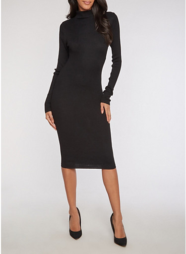 Ribbed Knit Funnel Neck Bodycon Dress,BLACK,large