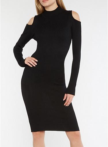 Rib Knit Cold Shoulder Dress with Back Keyhole,BLACK,large