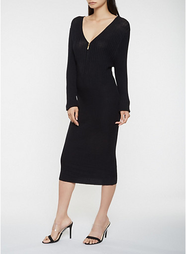 Zip Neck Sweater Dress,BLACK,large