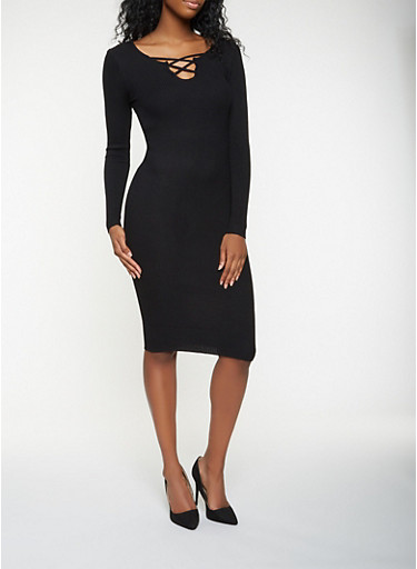 Caged Rib Knit Sweater Dress,BLACK,large