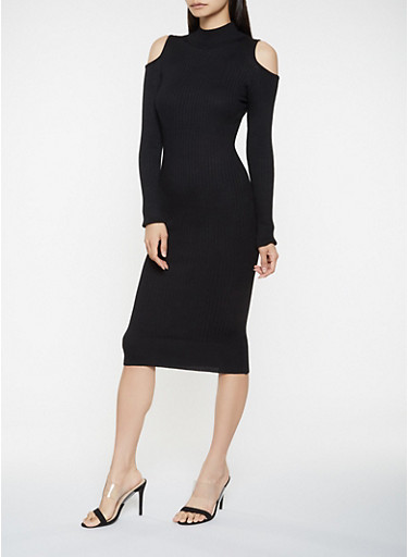 Cold Shoulder Sweater Dress,BLACK,large