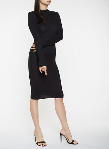 Rib Knit Sweater Dress,BLACK,large