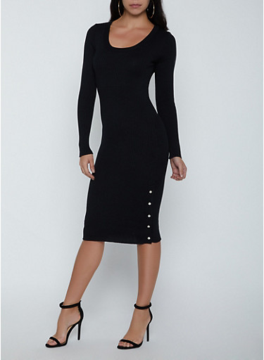Ribbed Button Detail Sweater Dress,BLACK,large