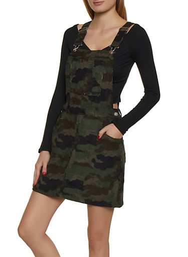 Corduroy Camo Overall Dress,OLIVE,large