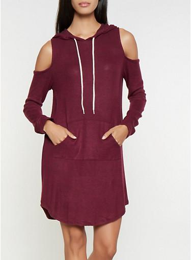 Hooded Cold Shoulder Sweatshirt Dress,WINE,large