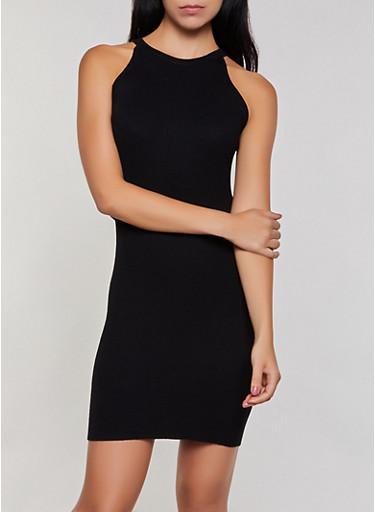 Cut Out Back Ribbed Knit Dress,BLACK,large