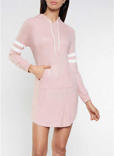 Hooded Varsity Stripe Sweater Dress,MAUVE,large