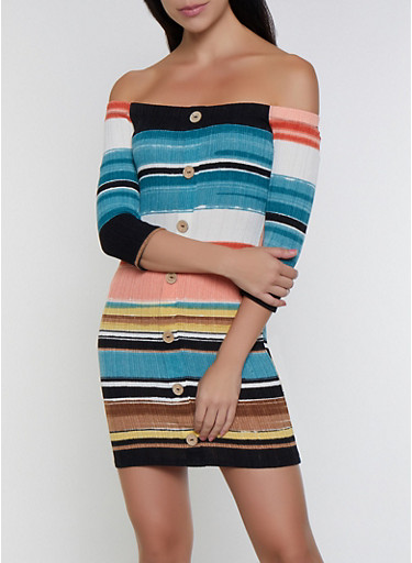 Striped Off the Shoulder Button Dress,MULTI COLOR,large