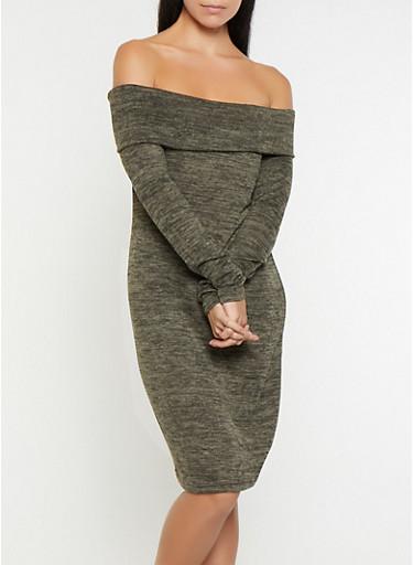 Off the Shoulder Sweater Dress,OLIVE,large