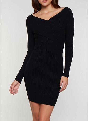 Criss Cross Sweater Dress,BLACK,large