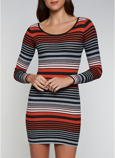 Striped Scoop Neck Sweater Dress,RUST,large