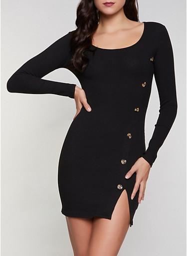 Ribbed Button Detail Dress,BLACK,large