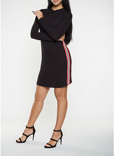 Striped Knit Trim Hooded Dress,BLACK/WHITE,large
