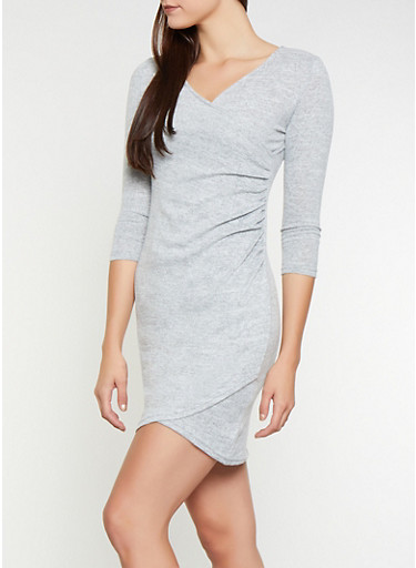 Faux Wrap Sweater Dress,HEATHER,large