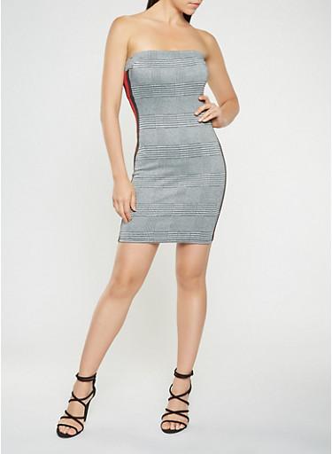 Side Stripe Plaid Tube Dress,BLACK,large
