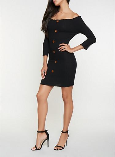 Rib Knit Off the Shoulder Dress,BLACK,large