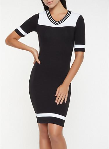 Color Block T Shirt Dress,BLACK,large