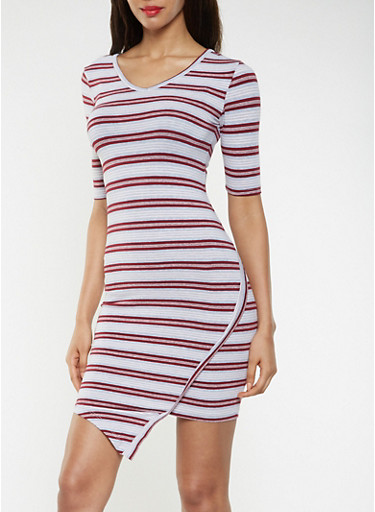 Striped T Shirt Dress,HEATHER,large