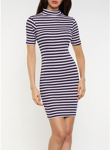 Striped Ribbed Knit Bodycon Dress,NAVY,large
