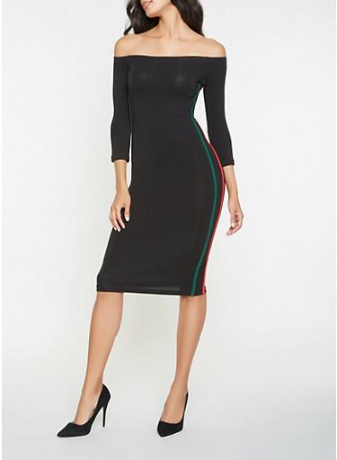 Off the Shoulder Varsity Stripe Bodycon Dress,BLACK,large
