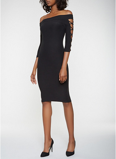 Caged Off the Shoulder Bodycon Dress,BLACK,large