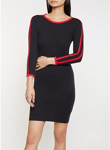 Varsity Stripe T Shirt Dress,BLACK,large
