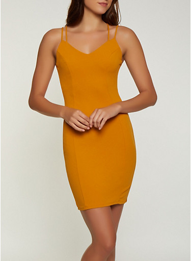 Caged Back Bodycon Dress,MUSTARD,large