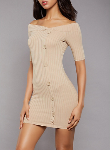 Ribbed Button Detail Bodycon Dress,NATURAL,large