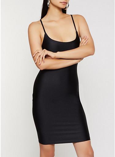 Spandex Cami Dress,BLACK,large