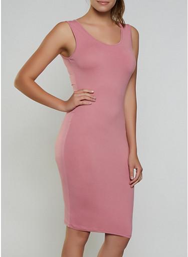 Soft Knit Scoop Neck Tank Dress,MAUVE,large