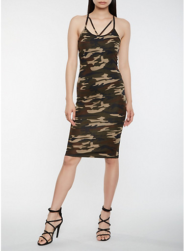 Caged Camo Bodycon Dress,BLK PTN,large