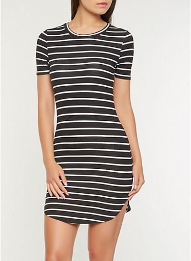 Striped T Shirt Dress,BLACK/WHITE,large